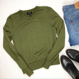 J. Crew Olive Merino Wool Crewneck Sweater XS